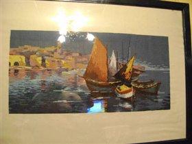 Мои 'Лодки'.Картина вышита крестом.Размер 80*38