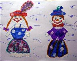 Снеговички-близнецы Пушинка и Колокольчик.