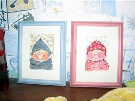 Закончила ТОМа. Теперь у меня девочка КИМ (в розовом) и мальчик ТОМ (в голубом) in the snow.