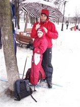 Мы с сыном и под дождем на лыжах катаемся!