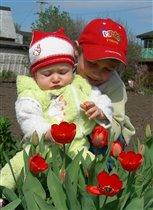 сестренка, смотри, какие красивые цветы!