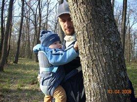 С папой в лесу.
