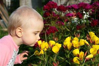 А мы гуляем и цветочки нюхаем!
