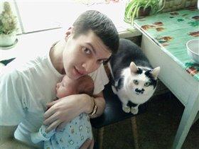 Я, папа и кот Вася.