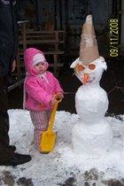 первй снег этой зимой или мой первый снеговик :-)