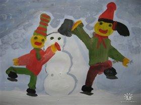 Новорожденный снеговичок . Юстина 5 лет.