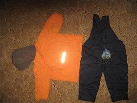 зимний комплект: полукомбинезон и куртка, р 80, цена 1200р.