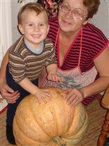 бабушка и внучёк собираем урожай
