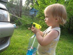 Главное в мытье машины - меткость!