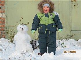Ура!первый снег!