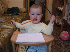 Юный писатель и рисователь!