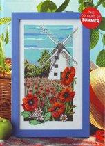 413 - The World of Cross Stitching - Windmill ad Poppies