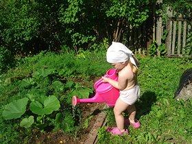 Поливаем огород.Он ведь тоже воду пьет.
