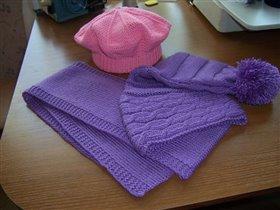 Шапочка 'буратинка', шарф и беретик