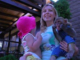 Две корчащих рожицы обезьянки