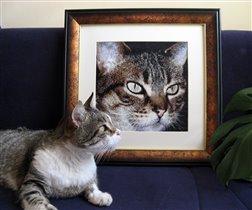мой кот и его вышитый портрет