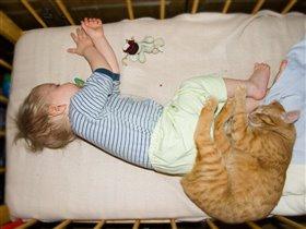 Спят ребята и котята и мышата
