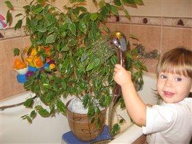 Помогаю маме ополаскивать растение