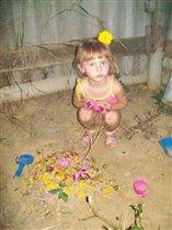 Песочно-цветочный тортик