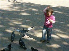 Кира кормит голубей