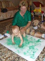 первый урок рисования, с бабулей