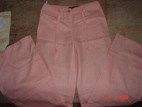 Льняные розовые брючки. 150руб.