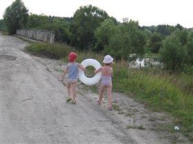 лето, деревня, речка