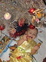 хорошо жевать конфеты под елкой!
