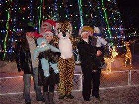 У городской ёлочки с тигрой сделали мы фоточки!