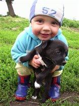 Ванюшка с щенком.