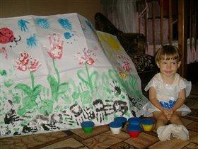 Вот цветочная поляна - помогала мне мама.