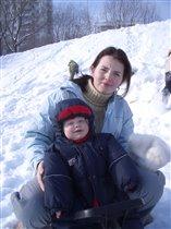 Сын. Солнце. Снег. Снегокат :)