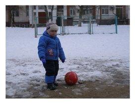 Футбол на снегу.