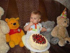 именинный тортик  'Я ЛЮБЛЮ КЛУБНИЧКУ'
