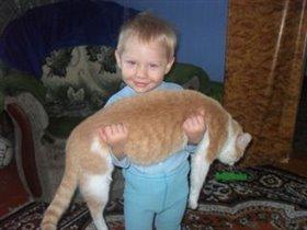Вместо штанги - кот Персик!!!!!