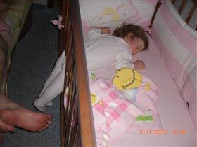 Кроватка стала маловата, пора менять :)