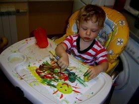 Нарисую на бумажке-солнце, маму и букашку!