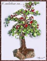 Дерево из хризопраза с цветами из шерла