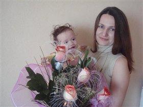 папа нас любит,цветы дарит.