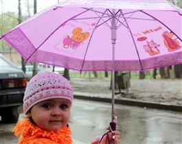 первый дождик с зонтом  или первый зонтик:)