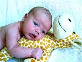 На жирафике лежу и на мамочку гляжу.