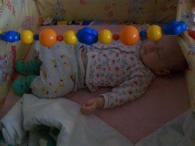 Наигрался.уснул))))