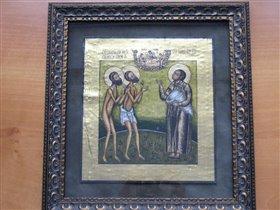 икона на бересте Московские чудотворцы