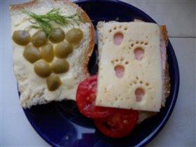 Бутерброды 'Виноград' и 'Кто ходил по бутерброду?'