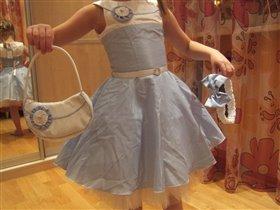 Платье Лира голубое 122 р-р!