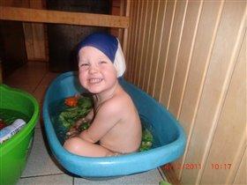 Как хорошо зимой в бане :)