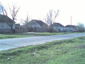 наш дом в середине с зеленым палисадником