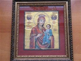 Иверская икона Пресвятой Богородицы,  на бересте