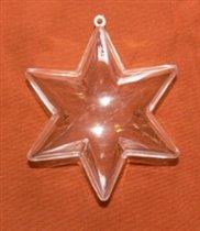 Звезда, пластик, 2 части, 14 см, прозрачный