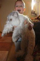 Приручил злую кошку